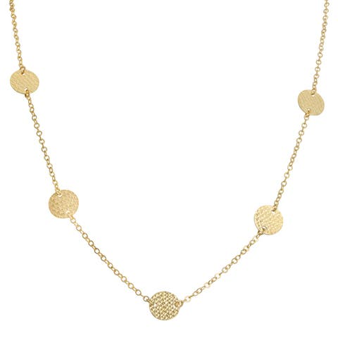Fremada 10k Yellow Gold Diamond-cut Disc Adjustable Station Necklace (18 inch)
