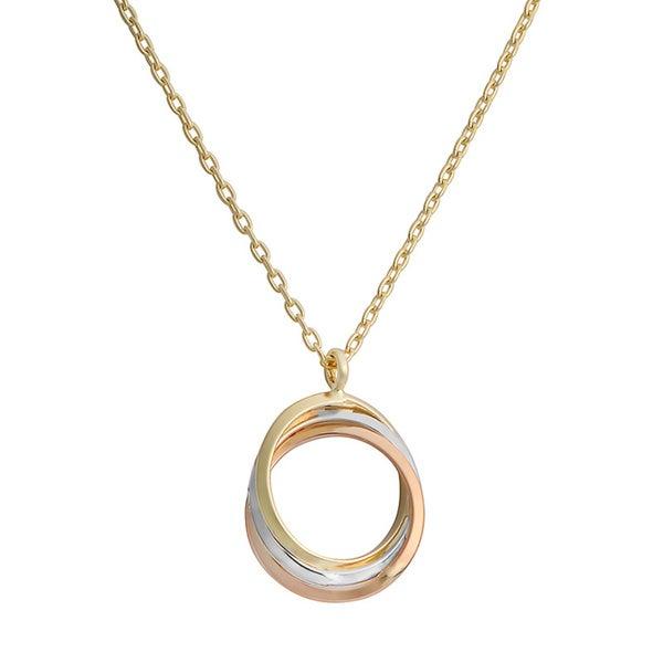 Fremada 10k Tri-color Gold Adjustable Love Knot Necklace