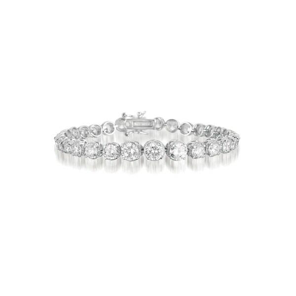 Collette Z Sterling Silver Cubic Zirconia Graduated Style Tennis Bracelet