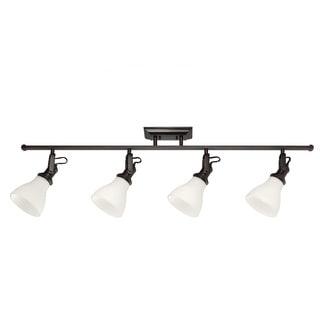 4-light Burnt Sienna Track Lighting Kit with Satin White Glass