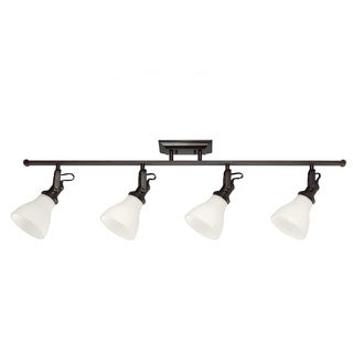 4-light Burnt Sienna Track Lighting Kit with Satin White Glass