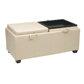 Office Star Products Metro Faux Leather Storage Ottoman