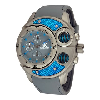 Adee Kaye Men's Commando Grey/ Blue Chronograph Watch