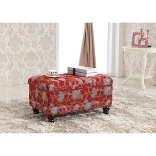 Castillian Collection Elegant Red Floral Tufted Storage Bench Ottoman