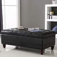 Luxury Comfort Collection Black Tufted Storage Bench Ottoman