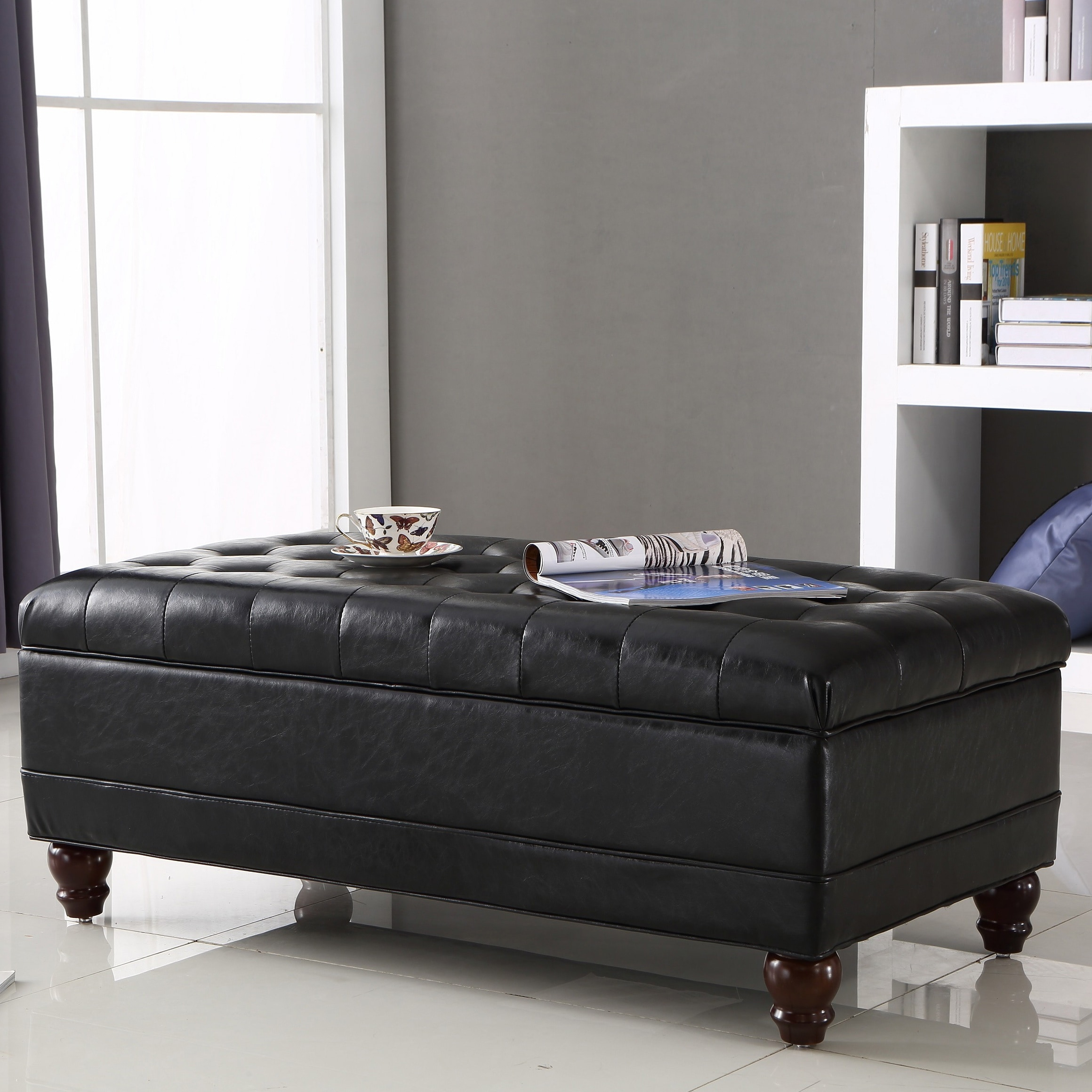 Incredible Luxury Comfort Collection Black Tufted Storage Bench Ottoman Onthecornerstone Fun Painted Chair Ideas Images Onthecornerstoneorg