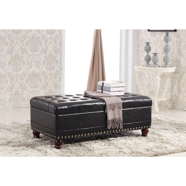 Luxury Comfort Collection Classic Tufted Storage Bench Ottoman with Nailhead Trim