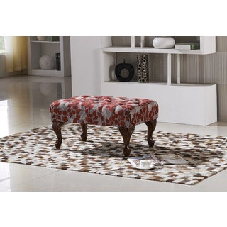 Elegant Red Floral Button Tufted Bench Ottoman with Carved Legs
