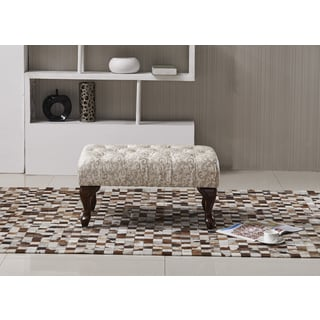 Classic Floral Fabric Print Tufted Bench Ottoman with Carved Legs