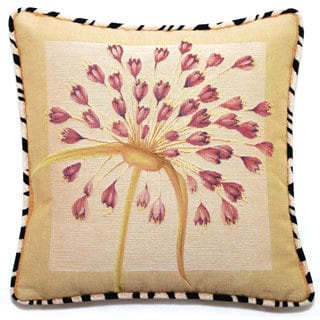 Corona Decor French Woven Beige/ Rose Floral Cotton and Wool Decorative Throw Pillow
