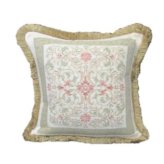 Corona Decor French Woven Square Floral Design Cotton and Wool Decorative Throw Pillow