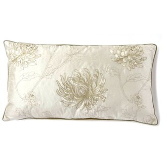 Corona Decor Fine Block Printed Floral Design Silk Accent Pillow