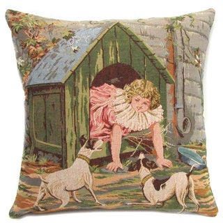 Corona Decor French Woven Girl and Doghouse Design Cotton and Wool Decorative Throw Pillow
