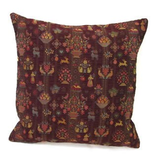 Corona Decor French Woven Festive Floral Design Cotton and Wool Decorative Throw Pillow