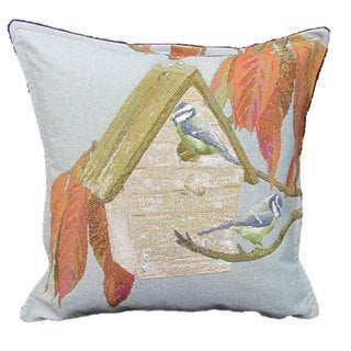 Corona Decor French Woven Bird House Cotton and Wool Decorative Throw Pillow