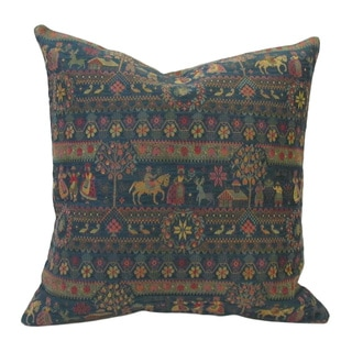 Corona Decor French Woven Country Design Cotton and Wool Decorative Throw Pillow