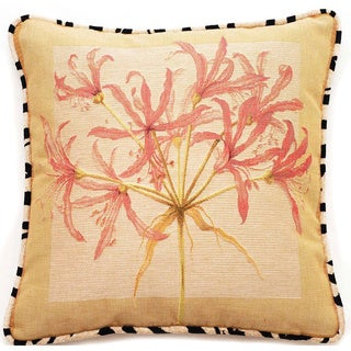 Corona Decor French Woven Coral Pink Floral Cotton and Wool Decorative Throw Pillow
