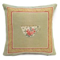 Corona Decor French Woven Tea Cup Cotton and Wool Decorative Throw Pillow