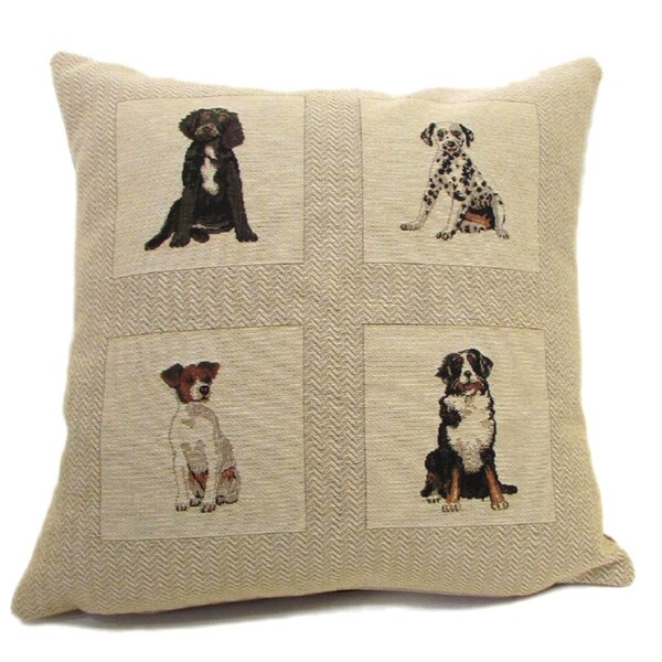 Corona Decor French Woven Four Dog Design Decorative Cotton and Wool Throw Pillow