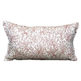 French Woven Coral Cotton and Wool Decorative Throw Pillow
