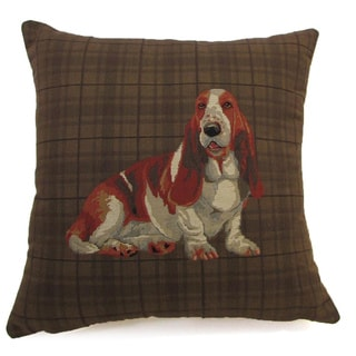 Corona Decor French Woven Basset Hound Cotton and Wool Decorative Throw Pillow