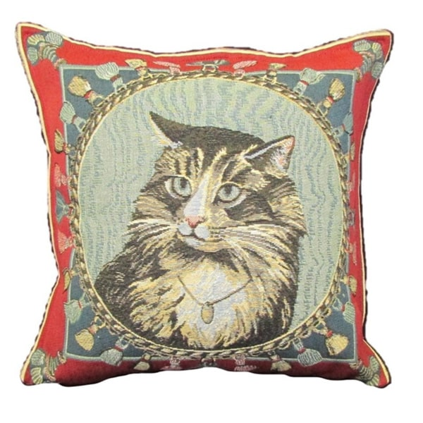 Corona Decor French Woven Cat Portrait Design Cotton and Wool Decorative Throw Pillow