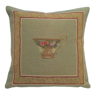 Corona Decor French-woven Tea Cup Design Pillow