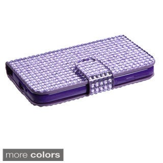 INSTEN Diamonds Card Slots Book-style Leather Phone Case Cover for Motorola Moto G