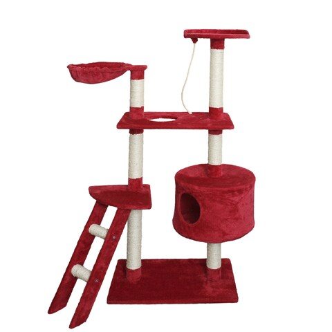 OxGord Red/White Wool, Wood, and Sisal Rope 58-inch-tall Cat Tree Tower Condo