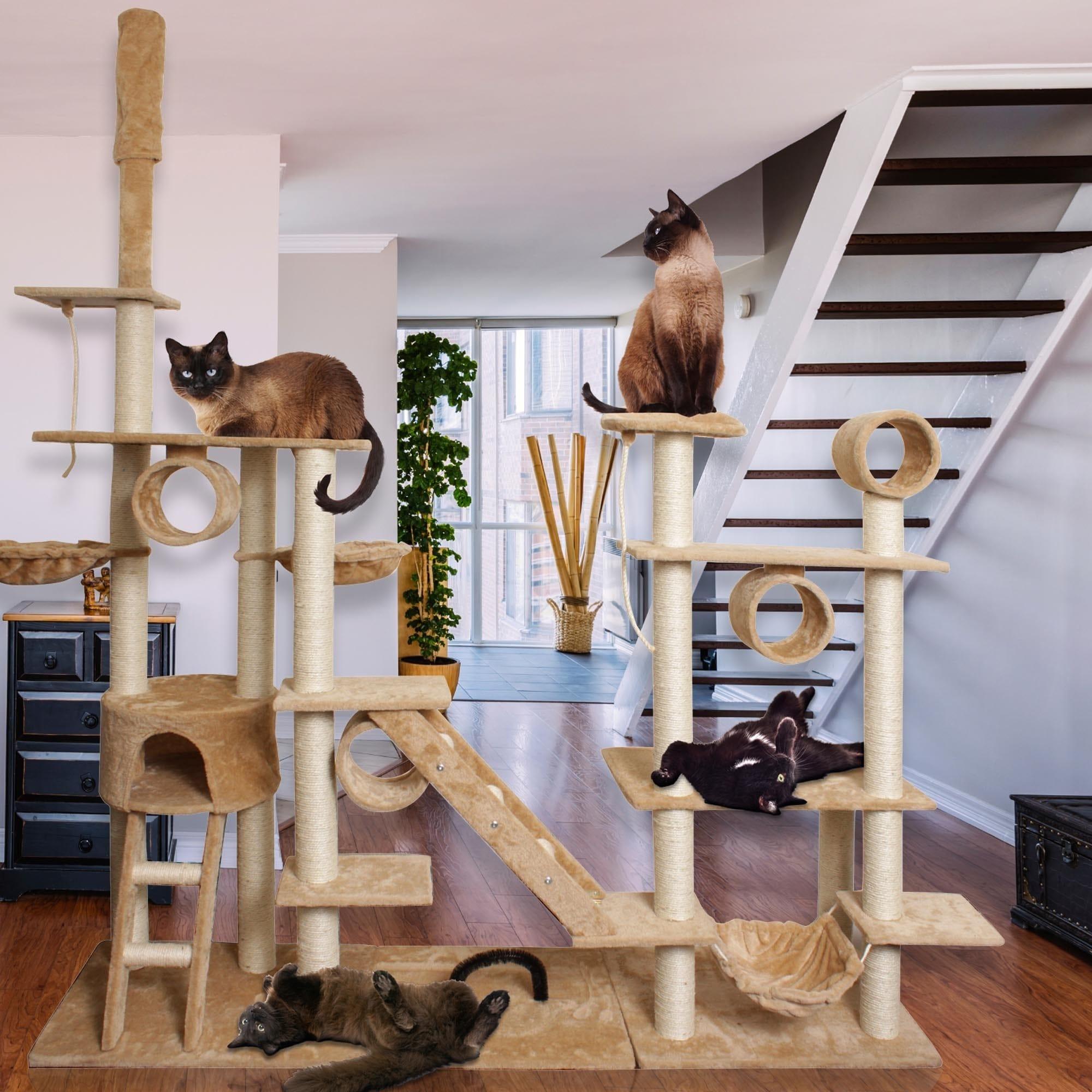Oxgord Tan/ White 96-inch Cat Tree Tower Condo Scratching...