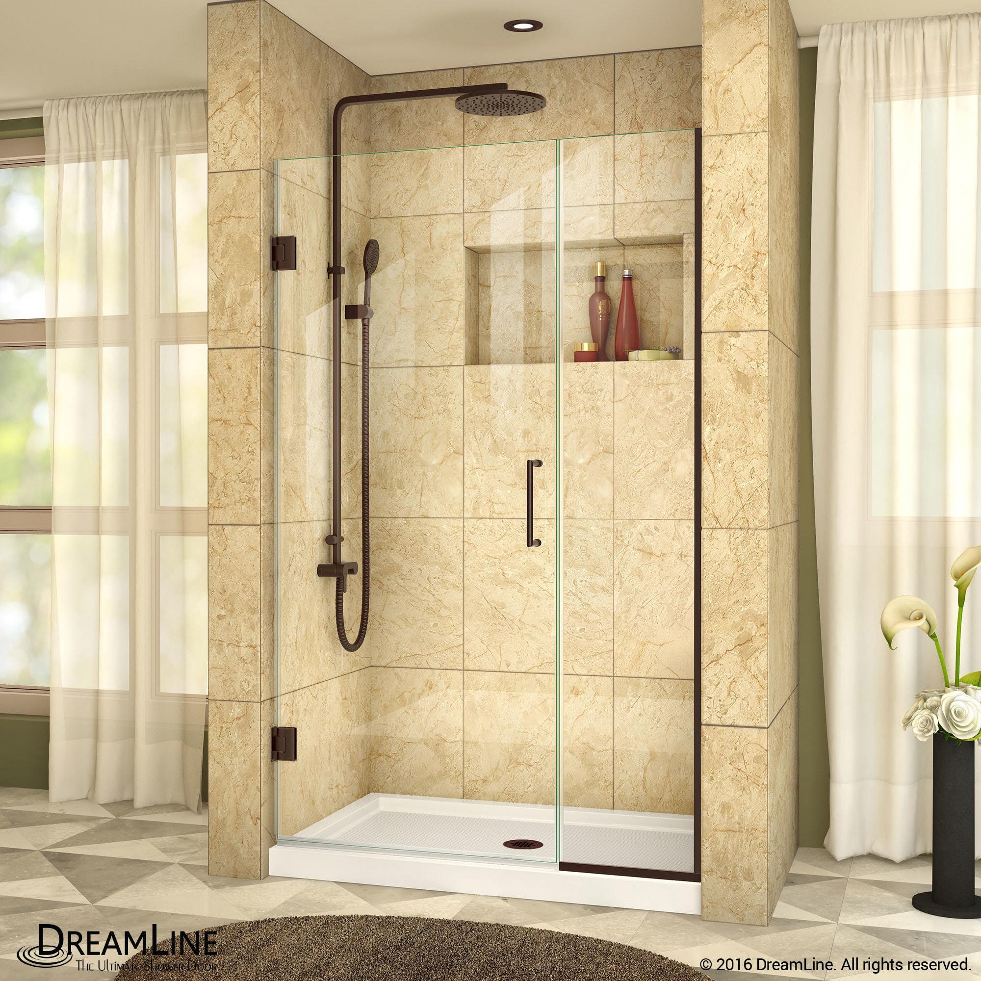 Dreamline Unidoor Plus 39 39 1 2 In W X 72 In H Frameless Hinged Shower Door 39 39 5 W