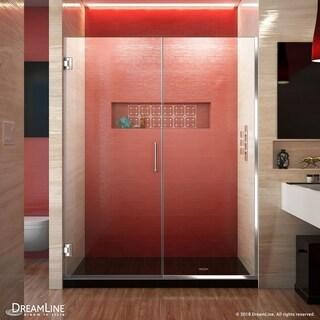 """DreamLine Unidoor Plus 56-56 1/2 in. W x 72 in. H Frameless Hinged Shower Door - 56"""" - 56.5"""" W"""