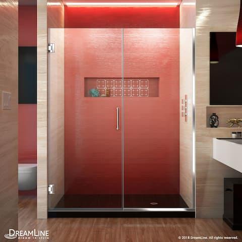 """DreamLine Unidoor Plus 58-58 1/2 in. W x 72 in. H Frameless Hinged Shower Door - 58"""" - 58.5"""" W"""