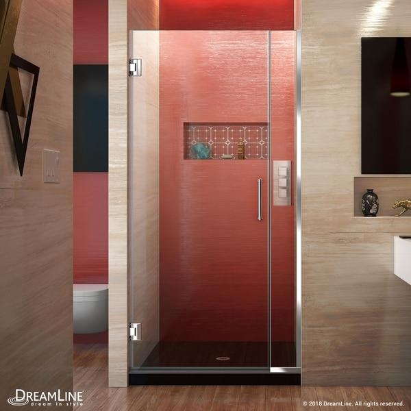 """DreamLine Unidoor Plus 32-32 1/2 in. W x 72 in. H Frameless Hinged Shower Door - 32"""" - 32.5"""" W"""