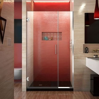 """DreamLine Unidoor Plus 44-44 1/2 in. W x 72 in. H Frameless Hinged Shower Door - 44"""" - 44.5"""" W"""