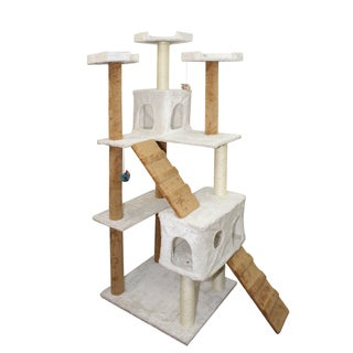 Oxgord White/ Tan 72-inch Cat Tree Tower Condo Scratching Furniture