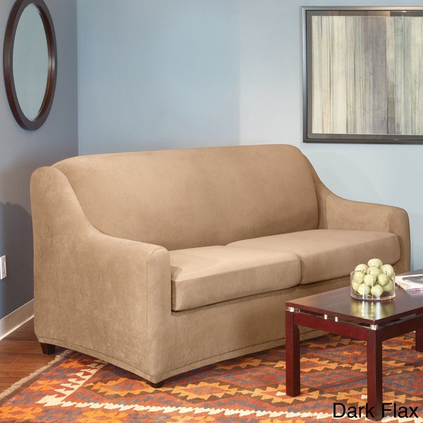 Sure fit stretch pearson full 3 piece sleeper sofa slipcover free shipping today overstock Sleeper sofa covers