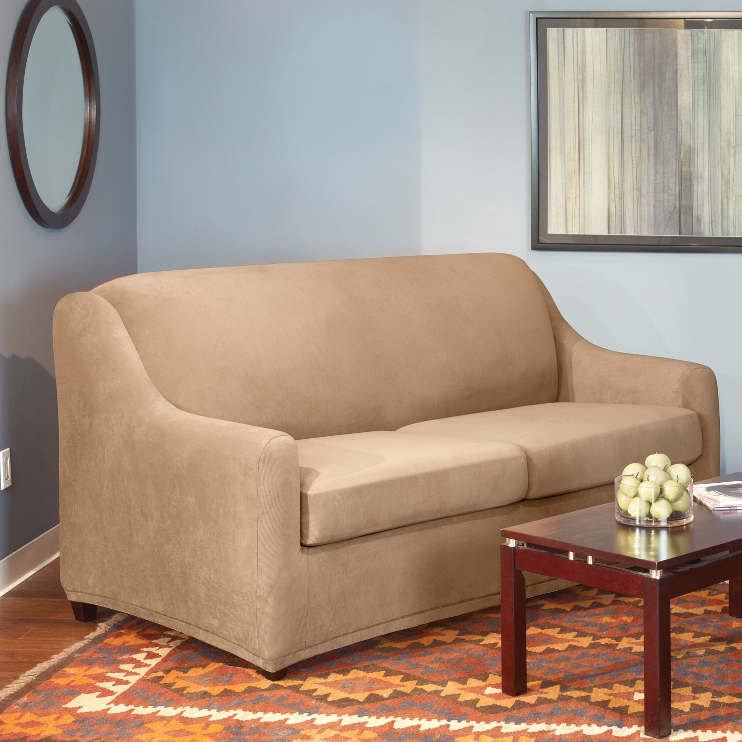 Shop Sure Fit Stretch Pearson Full 3 Piece Sleeper Sofa Slipcover