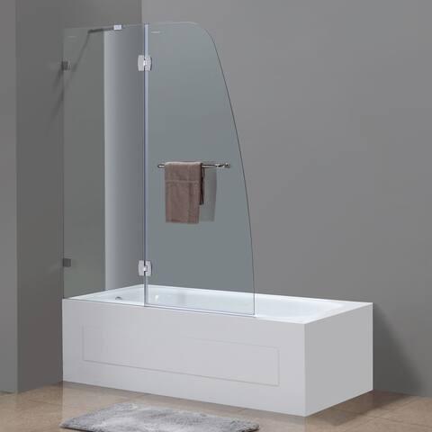 Aston Soleil 48-in x 58-in Completely Frameless Hinged Tub Door in Chrome