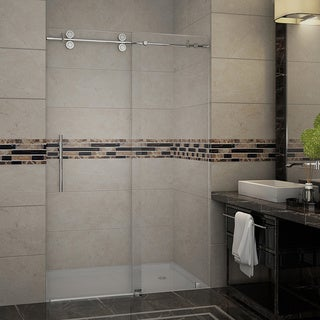 Aston Langham 48-in x 75-in Completely Frameless Alcove Sliding Shower Door in Chrome