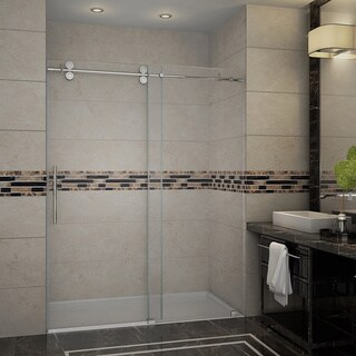 Aston Langham 48-in x 75-in Completely Frameless Alcove Sliding Shower Door in Stainless Steel