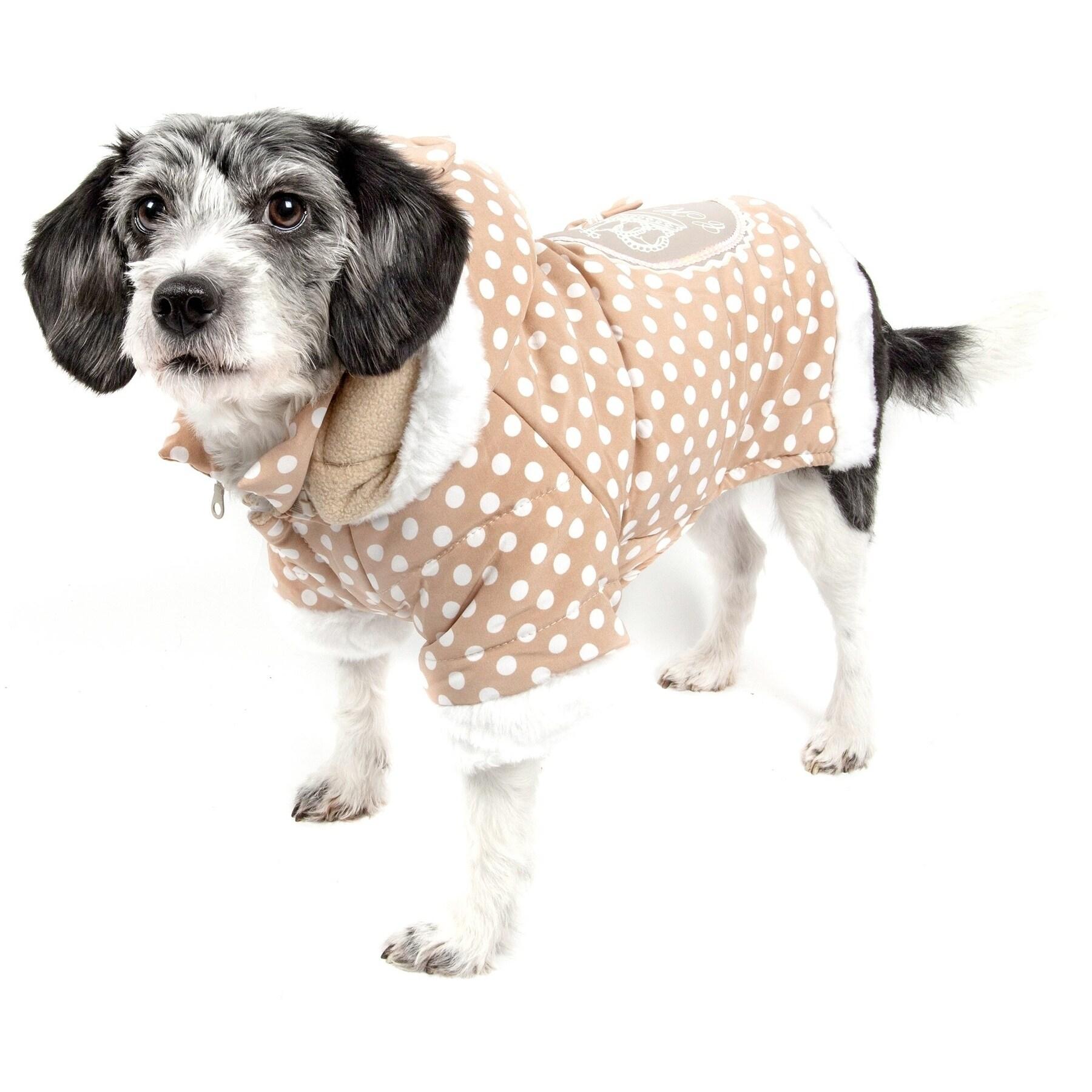 Petlife Brown / Pink Polka-dot Hooded Pet Sweatshirt (Med...