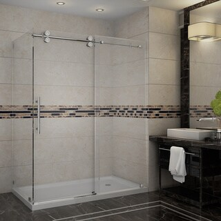 Aston Langham 60-in x 35-in x 77.5-in Completely Frameless Sliding Shower Enclosure in Stainless Steel w. Base