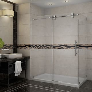 Aston Langham 60-in x 35-in x 77.5-in Completely Frameless Sliding Shower Enclosure in Stainless Steel w. Base|https://ak1.ostkcdn.com/images/products/9129448/P16312423.jpg?impolicy=medium