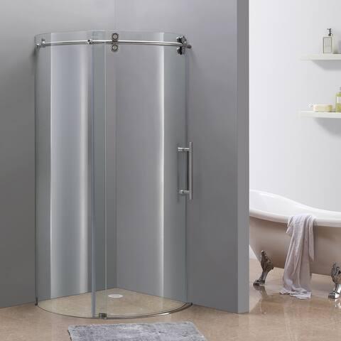 Aston Orbitus 40-in x 40-in Completely Frameless Sliding Shower Enclosure in Stainless Steel, Right Opening Chrome