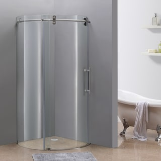 Aston Orbitus 40-in x 40-in Completely Frameless Sliding Shower Enclosure in Stainless Steel, Right Opening Chrome