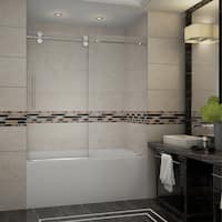 Aston Langham 60-in x 60-in Completely Frameless Sliding Alcove Tub Door in Stainless Steel