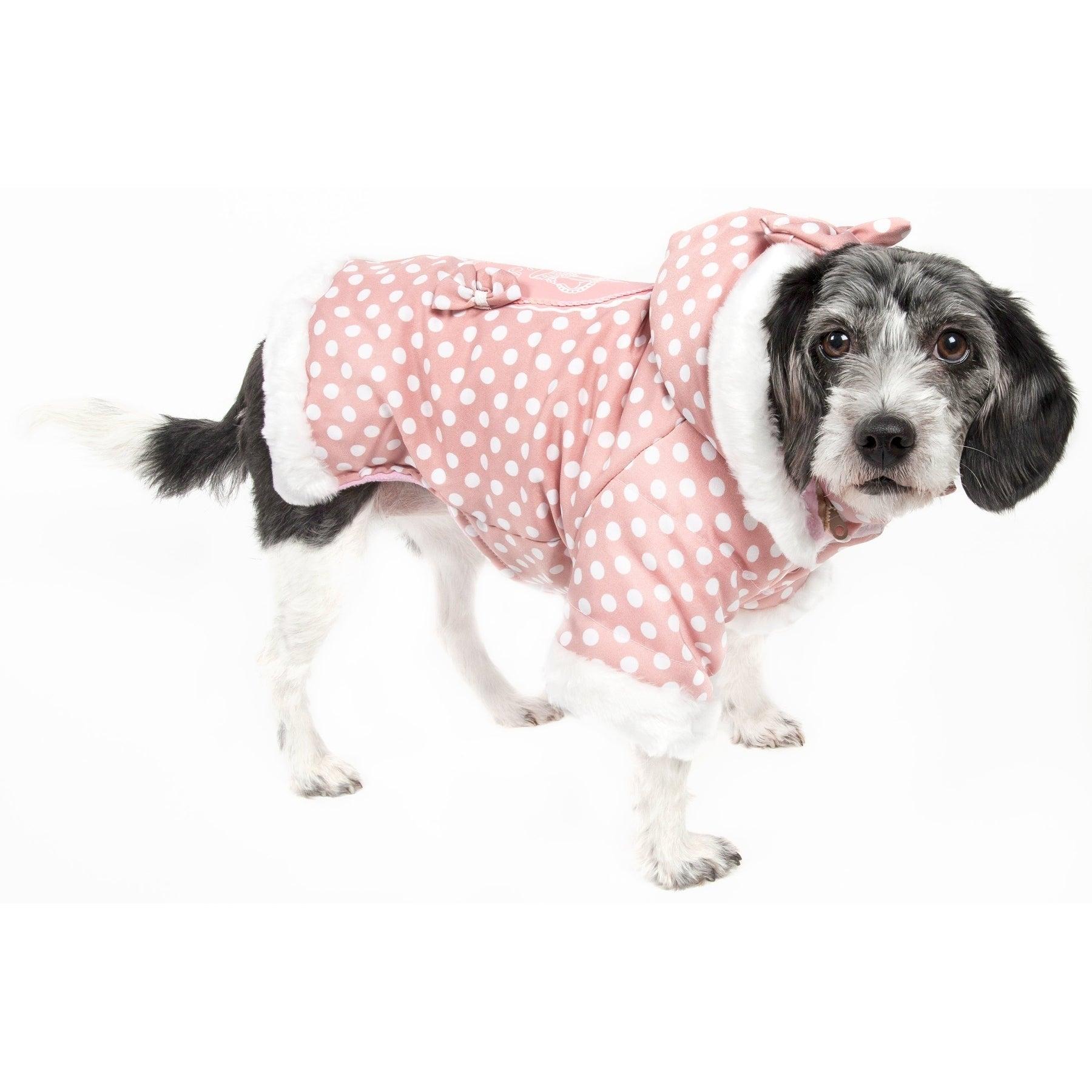 Petlife Pink / White Polka-dot Hooded Pet Sweatshirt (Small)