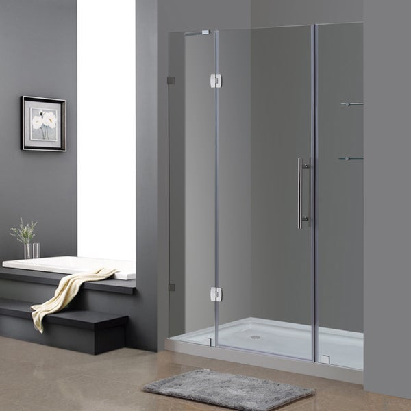 Aston Soleil 60-in x 77.5-in Completely Frameless Alcove Shower Door w. Glass Shelves in Chrome and Base