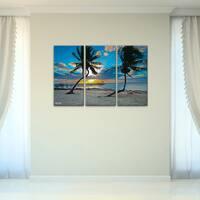 Bruce Bain 'Sun Set' 3-piece Canvas Wall Art